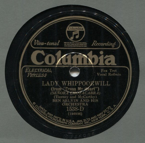 Columbia 1538-D Record Label Image