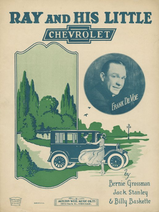 """""""Ray And His Little Chevrolet"""" Vintage Sheet Music Cover"""
